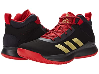 adidas Kids Cross Em Up 5 Wide (Little Kid/Big Kid) (Core Black/Gold Metallic/Scarlet) Kid