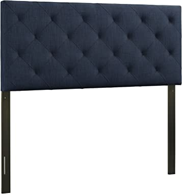 Modway Theodore Tufted Diamond Pattern Fabric Upholstered Full Headboard in Navy