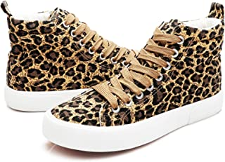 yageyan Womens High Top Canvas Sneakers Fashion Classic Shoes Comfortable White and Leopard Walking Shoes(Leopard7)