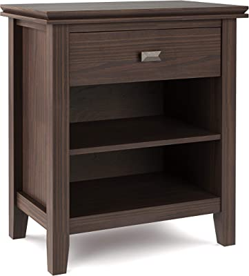 SIMPLIHOME Artisan Bedside Table Night Stand, Small Parcel, Warm Walnut Brown