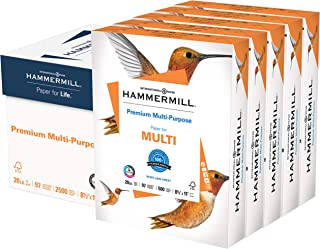 Hammermill Premium Multi-Purpose 20lb Copy Paper, 8.5 x 11, 5 Reams, 2,500 Sheets, Made in USA, Sustainably Sourced From A...