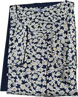 Eco Ragno Pigiama Donna Giacca Aperta Girocollo Pantalone Lungo in Jersey di Puro Cotone Fantasia Blu'/Giallo Mis. dalla 4...