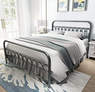 Vintage Sturdy Queen Size Metal Bed Frame with Headboard and Footboard Basic Bed Frame No Box Spring Needed (Queen, Gray Silver)