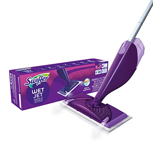 Swiffer WetJet Hardwood and Floor Spray Mop Cleaner Starter Kit, Includes: 1 Power Mop, 10 Pads, Cleaning Solution, Batteries