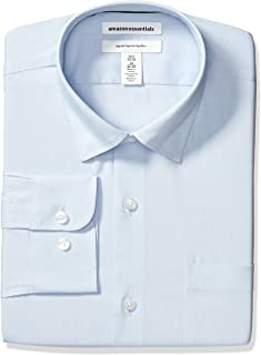 "Amazon Essentials Men's Regular-Fit Wrinkle-Resistant Stretch Dress Shirt, Light Blue, 18"" Neck 36""-37"" Sleeve"