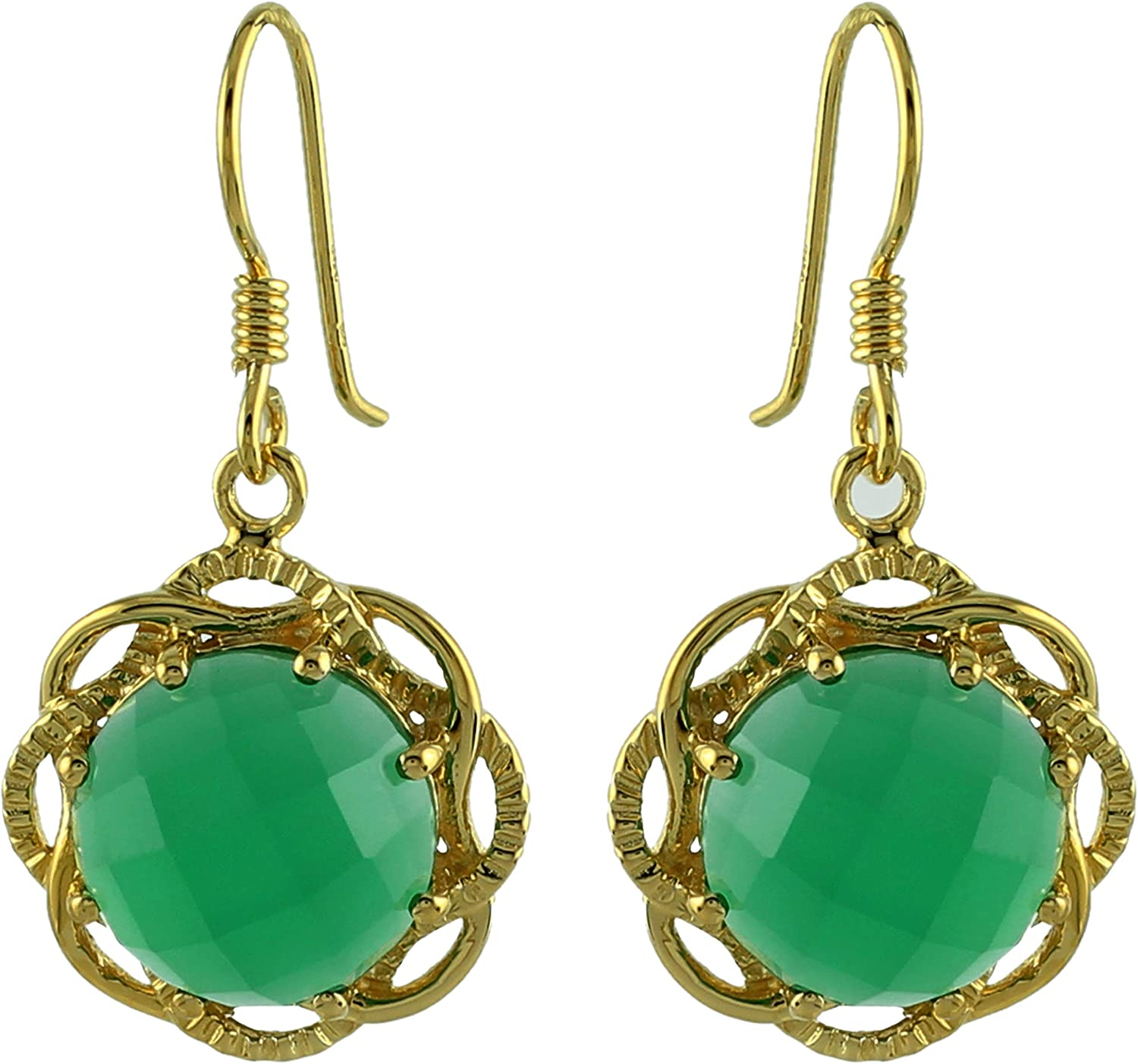 16mmx13mm PC056 Green Onyx Round Pendant 10 Pcs Green Onyx Faceted Round 24k Gold Plated Single Bail Pendant