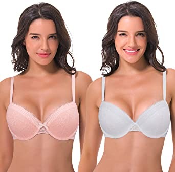 Curve Muse Womens Plus Size Lightly Padded Underwire Lace Balconette Contour Bra