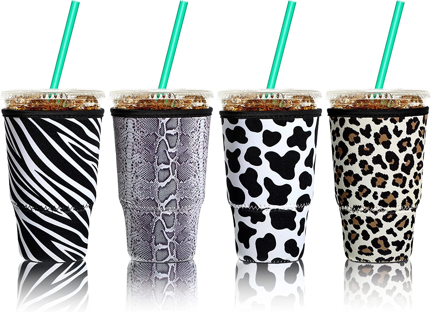 4 Pieces Reusable Coffee Sleeve Cup Insulator for Cold Drinks Beverages and Neoprene Cup Holder for Most Coffee, Drinks Cup, 30-32 OZ Large (Animal Stripes)
