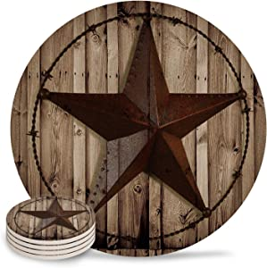 Arts Language Coasters for Drinks Absorbent Coaster 4 Piece Set Western Texas Star Rustic Wood Grain Ceramic Stone Coasters Cups Mug Place Mats for Home Decor Housewarming Gift