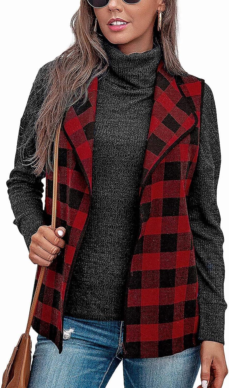 Women Casual Lattice Vest Coat Turndow Sleeveless Zipper Printed San Low price Francisco Mall