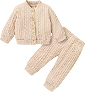 Baby Girl Knitted Sweater Infant Button Sweaters Tops and Long Pants Baby Girl Winter Fall...