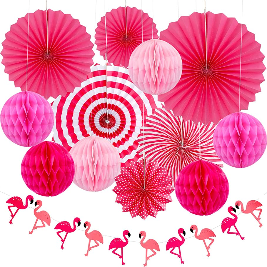 Hawaii Theme Summer Party Decoration Set, Include 6 Pieces Paper Fans, 6 Pieces Paper Balls, Flamingo Garland Banner for Hawaiian Luau Party Photo Backdrop x877406198