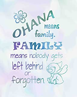 Ohana Means Family - Inspired by Lilo and Stitch - Watercolored Poster Print Photo Quality - Made in USA - Disney Inspired - Home Art Print -Frame not included (8x10, Ohana Watercolor)
