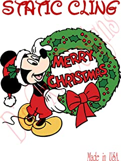 One Stop Nails Mickey with Christmas Wreath Christmas and Winter Holidays Static Cling Decoration for Windows, Mirrors or Polished Metal Surfaces. (OSN Version) (8