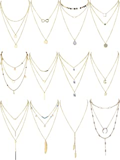 Finrezio 12 PCS Gold & Silver Tone Layered Necklace for Women Girls Sexy Long Choker Chain Y Necklace Bar Feather Pendent Necklace Sets