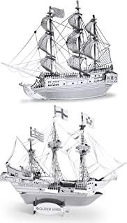 Metal Earth 3D Laser Cut Steel Models - Black Pearl Ship AND Golden Hind Ship = SET OF 2