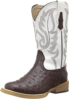 Square Toe Faux Ostrich Western Boot