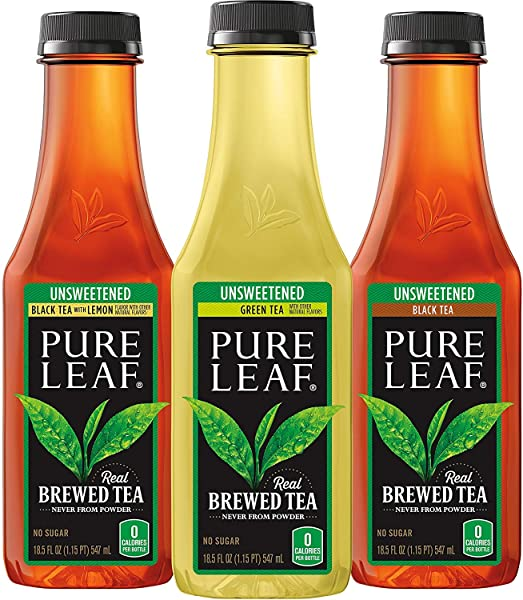 Pure Leaf Iced Tea Unsweetened Variety Pack Real Brewed Tea 0 Calories 18 5 Ounce Bottles Unsweetened VP 24 Pack