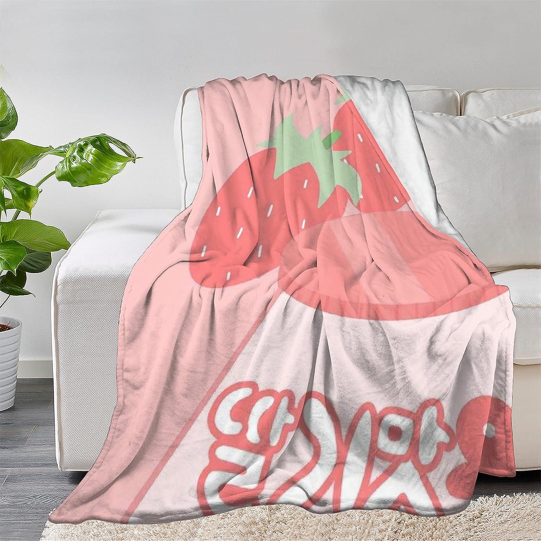FUNDESIGN Kawaii Strawberry Flannel Throw Max 80% OFF Li depot Ultra Soft Blanket