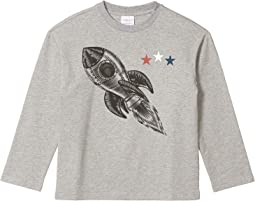 Spaceship Print Long Sleeve Tee (Toddler/Little Kids/Big Kids)
