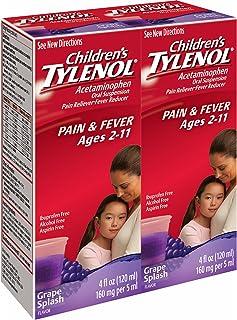 Children`s Tylenol Grape Splash Flavored Liquid, 4 Fl. oz, 2 pk.