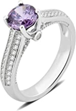 DiamondMuse Amethyst and White Sapphire Ring in Sterling Silver