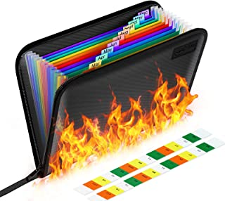 Sac à Documents Ignifuge, Sac d'argent Ignifuge Silicone Non-Itchy pour Argent, iPad, Contrat, Factures, Passeport et Obje...