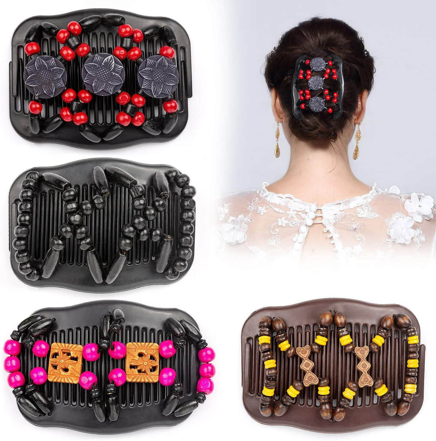 Wodasi Estirar Combs Magic Hair Clips, 4 Pcs Magic Hair Comb, Moda Mágica Peine, Pelo Elástico Mágico Peineta, Peinetas de pelo Pinzas de Pelo Elástica, Pinzas de Pelo Elástica Mágica