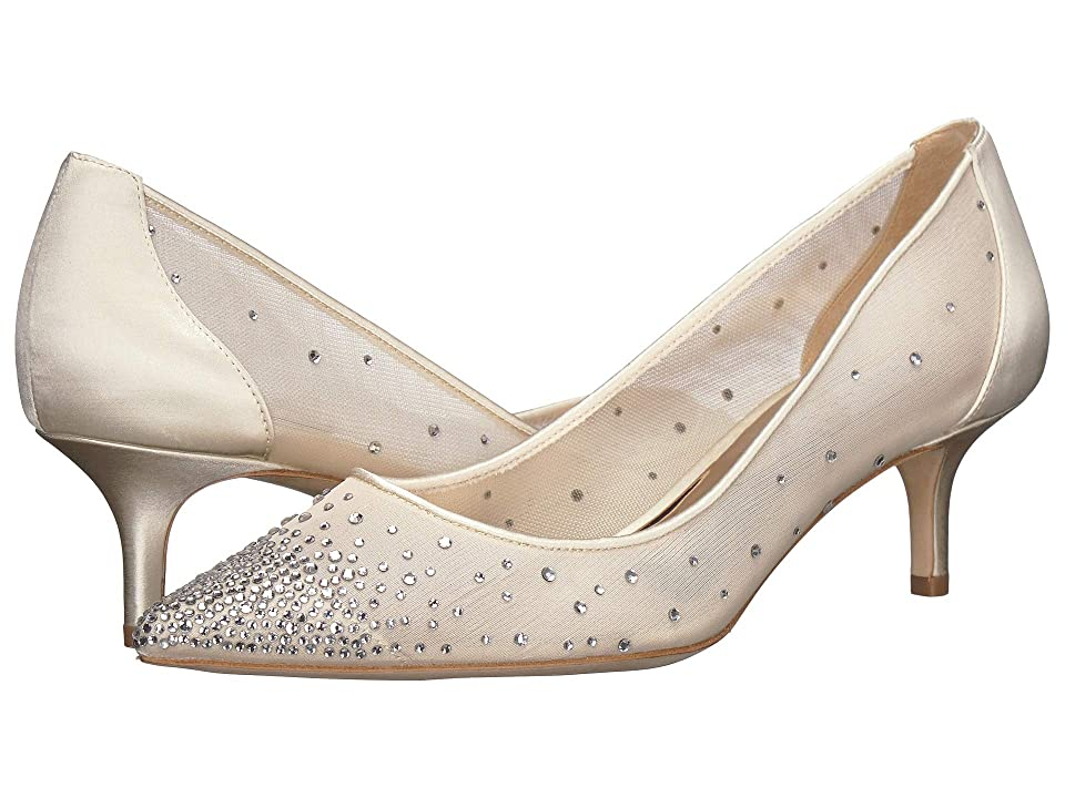 Vintage Wedding Shoes, Flats, Boots, Heels Badgley Mischka Felicity Ivory SatinMesh Womens Shoes $198.00 AT vintagedancer.com