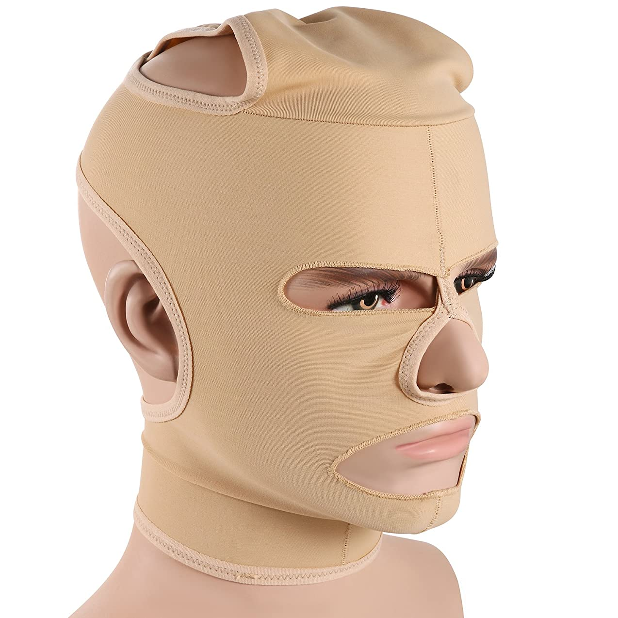 君主家事をするハブJewelryWe 小顔補正マスク 小顔ベルト 法令線予防 シワ防止 美顔 額、顎下、頬リフトアップ 男女兼用 Lサイズ