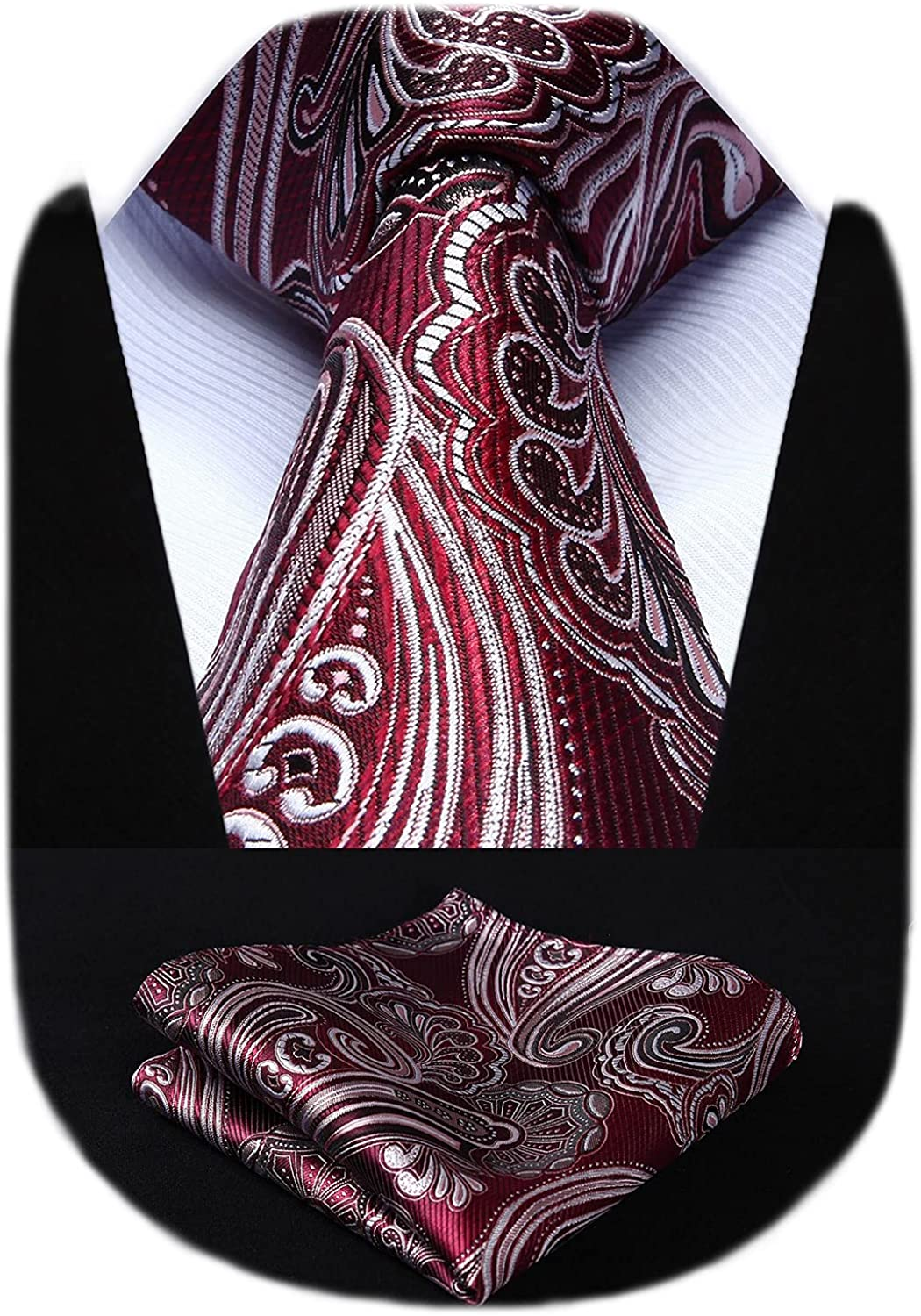 HISDERN Mens Ties and Pocket Square Set Paisley Floarl Woven Jacquard Tie Classic Formal Necktie for Wedding Party