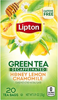 Lipton Green Tea Bags, Decaf, Honey Lemon Chamomile, 20 Count (Pack Of 3)