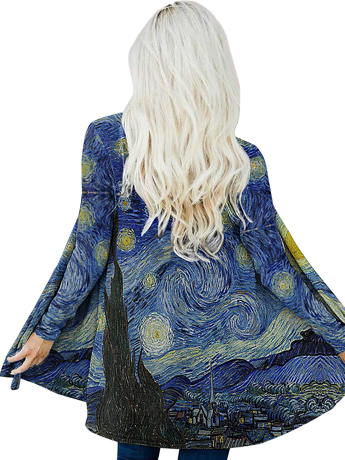Oil Painting Van Gogh's Award Starry Sky Selling and selling Women Loos Long Cardigans for