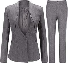 Women's Office Work Wear 2 Piece Suit Set One Button Blazer and Dress Pants