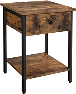 VASAGLE Nightstand, End Table, Side Table with Drawer and Shelf, Bedroom, Easy Assembly, Steel, Industrial Design, Rustic ...