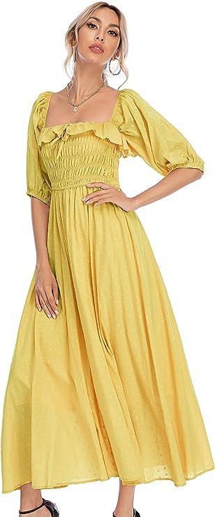 Peasant Dresses & Prairie Dresses R.Vivimos Women Summer Half Sleeve Cotton Ruffled Vintage Elegant Backless A Line Flowy Long Dresses $31.99 AT vintagedancer.com