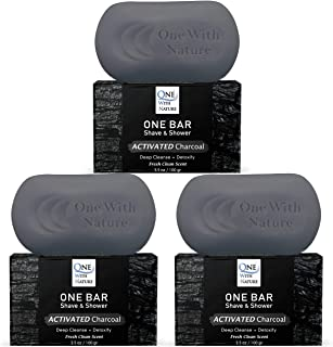 """ONE Bar Activated Charcoal 3 Pack - Shave, Shower, Shampoo, face, beard, body, hair/scalp, SuperFAT """"oil"""" Infused: Avocado..."""