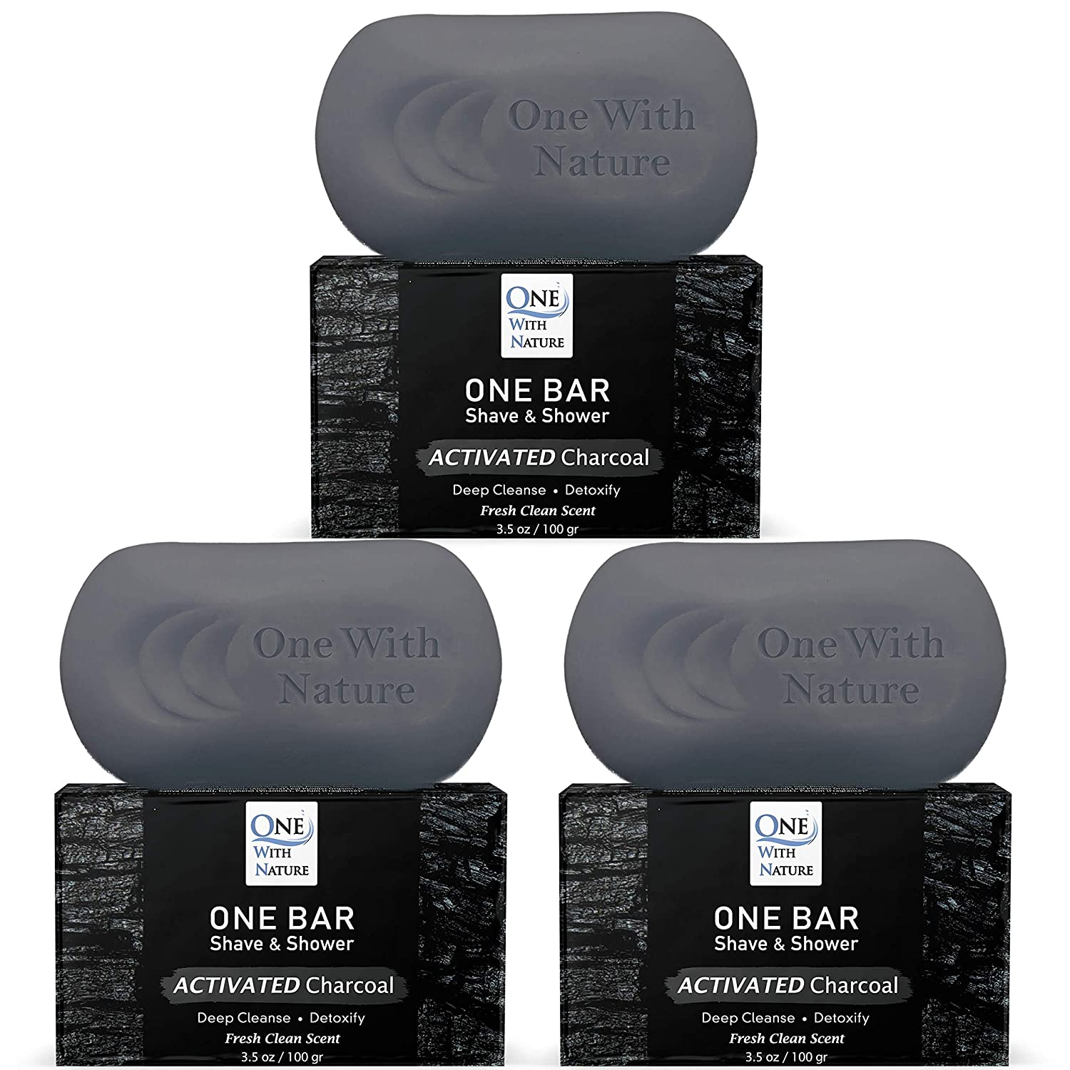 ONE Bar San Jose Mall Activated Charcoal 3 Pack Shave - Shower Regular store face Shampoo