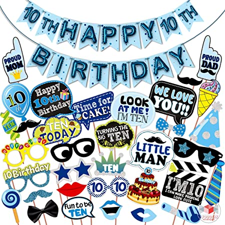 WOBBOX Tenth Birthday Photo Booth Party Props Blue for Baby Boy with 10th Birthday Bunting Banner for Baby Boy in Blue, 10th Birthday Decorations for Boys, Kids Birthday Party Decoration Items