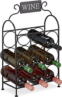 Relaxdays casier à vin, 9 Bouteilles, étagère décorative pour Cuisine & Salon, métal, H x L x P 55 x 34 x 17,5 cm, Noir