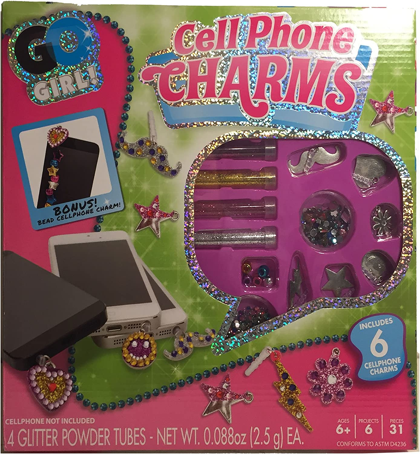 Go Girl Cell Phone Charms Kit Create 6 Includes Charm Max 58% OFF Animer and price revision Your Own