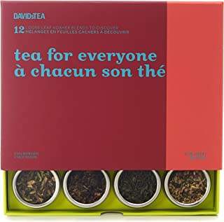 DAVIDsTEA Tea for Everyone 12 Tea Sampler, Loose Leaf Tea Gift Set, Assortment of 12 Crowd-pleasing Teas and Infusions, 98 Grams / 3.5 Ounces