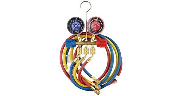 Robinair 40174 Two Way Brass Manifold with 60 RYB Hoses For R22//404A//410A Refrigerant