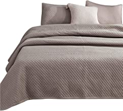 doudoumum Stone Washed Microfiber 3 Pieces Solid Quilt and Coverlet Set, Classic Diamond Pattern, Machine Washable, Easy Caring. King and Queen Set Available. Good for All Seasons (Taupe, King Set)