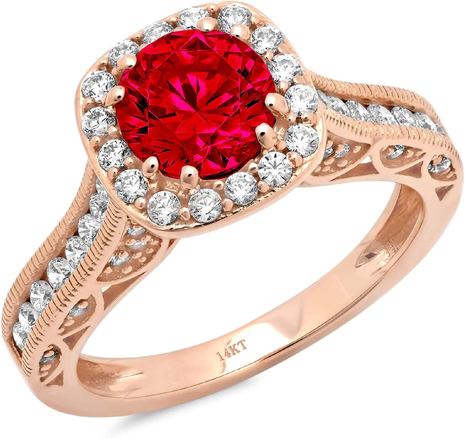2 ct Brilliant Round Cut Solitaire accent Halo Stunning Genuine Flawless Simulated Pink Tourmaline Modern Promise Statement Designer Ring 14k Rose Gold