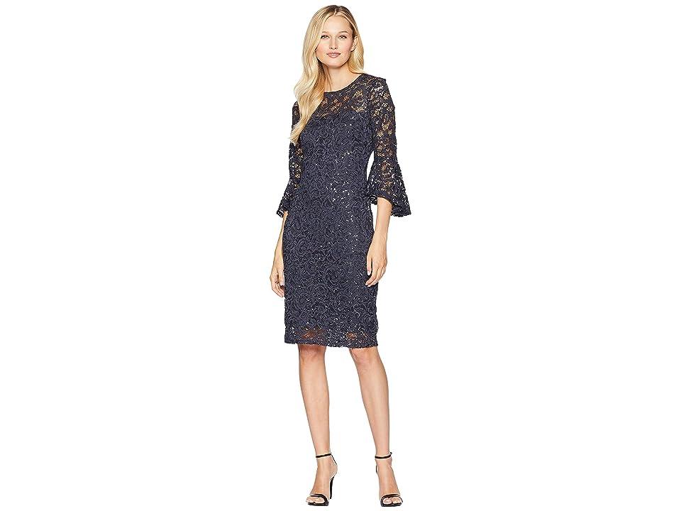 MARINA Sequined Lace Bell Sleeve Short Dress (Gunmetal) Women
