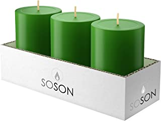Simply Soson 3 x 4 Inch Green Unscented Pillar Candle Bulk Set - Dripless, Scent Free Paraffin Wax Candle Pillars - Medium Size Wedding or Home No Drip Candles - 3 Pack