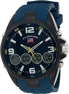 يو.اس. بولو اسن  ساعة يد كوارتز انالوج ورقمية للرجال مع سوار من المطاط US9598