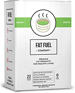 Fat Fuel Company Keto Matcha Green Tea Powder | MCT, Coconut Oil, Himalayan Salt & Grass-Fed Butter | Organic Ingredients | Energy, Focus , Detox | Perfect Drink For Low-Carb Diet | 7 Packets