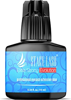EXTRA STRONG EVOLUTION 10 ml Eyelash Extension Glue Stacy Lash / 1-2 Sec Drying time/Retention – 8 weeks/Maximum Bonding/Professional Use Only Black Adhesive/Semi-Permanent Extensions Supplies